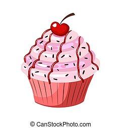blanco, cupcake, color aislado, vector, cherry., icon., plano, fondo.