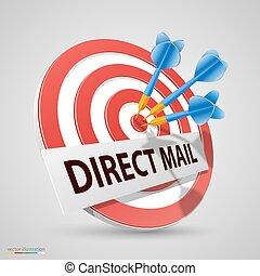 blanco, directo, ilustración, dardo, vector, icono, correo