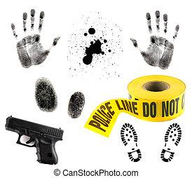 blanco, elementos, múltiplo, crimen