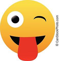 blanco, emoticon, emoji, cara, plano de fondo, vector, hombre fuera de lengua, aislado