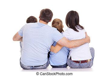 blanco, espaldas, familia