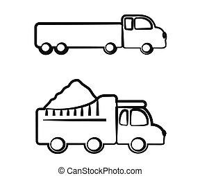blanco, fondo., camión, vector, silhouette.
