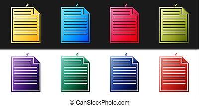 blanco, fondo., nota, icono, vector, botón, memorándum, conjunto, fijado, papel, negro, aislado, signo.