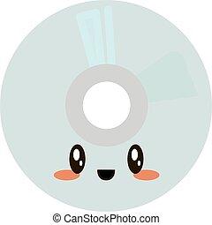 blanco, fondo., vector, ilustración, disco