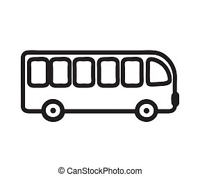 blanco, fondo., vector, silhouette., autobús