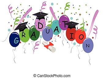 blanco, graduación, globos