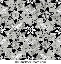 Blanco, gris y negro con un patrón floral sin costura