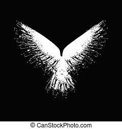 blanco, grunge, silueta, halcón