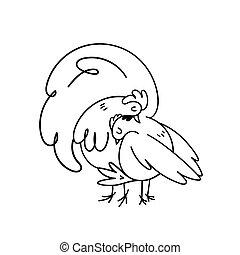 blanco, hand-drawn, apiñado, pollo, embracing., juntos, gently., gallo, familia , fondo., doodles, vector, lindo, idilio, ilustración, acción