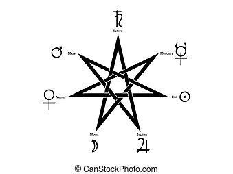 blanco, heptagram, vector, ritual, aislado, planetario, plano de fondo