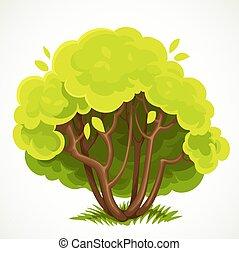 blanco, hojas, vector, arbusto, plano de fondo, dibujo, verde, aislado, bajo, verano