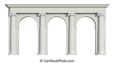 blanco, iónico, columnata