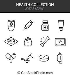 blanco, iconos, colección, lineal, plano de fondo, salud, negro