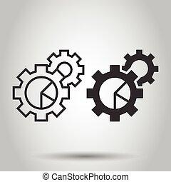 blanco, ilustración, aislado, icono, engranaje, plano, diagrama, concept., proceso, style., organización, vector, empresa / negocio, workflow, gráfico, fondo.