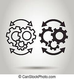 blanco, ilustración, icono, aislado, engranaje, eficaz, plano, concept., proceso, style., organización, vector, workflow, empresa / negocio, fondo.