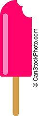blanco, ilustración, rosa, helado, vector, fondo.