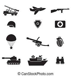 blanco, imagen, iconos, vector, silueta, negro, colección, fondo., aislado, ejército