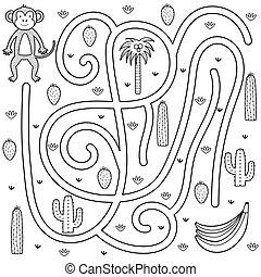 blanco, kids., juego, niños, colorido, página, laberinto, negro