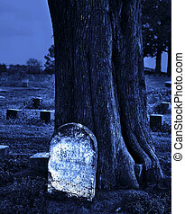 blanco, lápida, noche