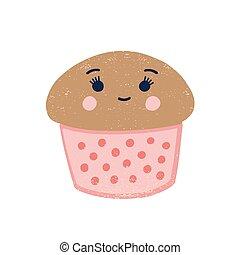 blanco, lindo, cupcake, character., delicioso, dulce, divertido, fondo., illustration., cremoso, muffin., sabroso, treat., caricatura, postre, aislado, pastel, bocado, plano, chocolate, vector, pastel, sonriente, kawaii