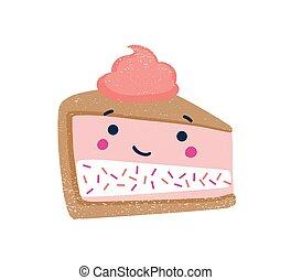 blanco, lindo, pedazo, cima, crema, delicioso, dulce, divertido, fondo., azotado, illustration., fresa, sonriente, treat., cheesecake., postre, aislado, pastel, plano, vector, cara, postre