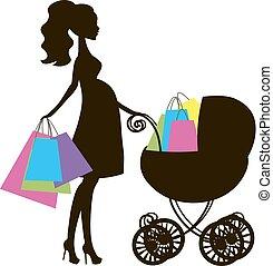 blanco, logotipo, mother's, icono, bebé, vector, venta, tienda, estilizado, plano de fondo, carruaje, ilustración, embarazada, compras, símbolo, mamá, en línea, silueta, mujer negra, moderno, vendimia