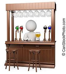 blanco, madera, personas., bar, 3d