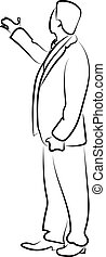 blanco, mano, fondo., actuación, vector, ilustración, hombre