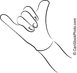 blanco, mano, fondo., actuación, vector, señal, ilustración, aprobar