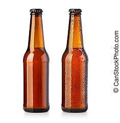blanco, marrón, botellas de cerveza