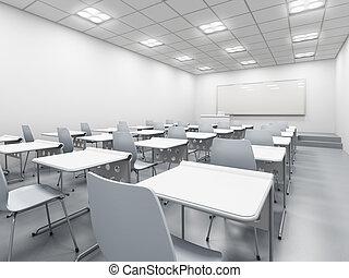 blanco, moderno, aula