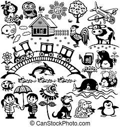 Blanco negro para niños