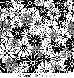 Blanco-negro repitiendo el patrón floral