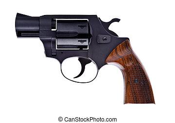 blanco, negro, revólver, plano de fondo, aislado