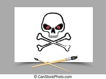 blanco, papel, dibujo, cráneo