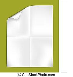 blanco, papel, doblado, hoja