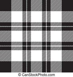 blanco, patrón, cheque, negro, tela, textura, seamless, diagonal