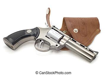 blanco, revólver, pistolera