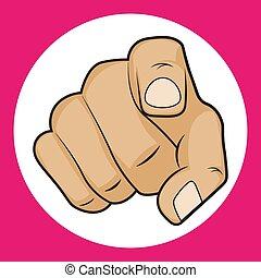 blanco, señalar, mano, ilustración, vector, dedo, plano de fondo