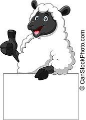 blanco, sheep, tenencia, señal, divertido, caricatura