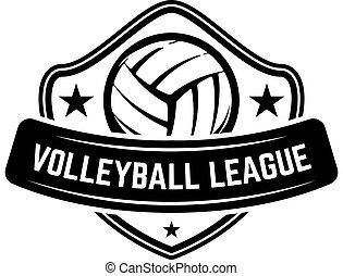 blanco, signo., fondo., plantilla, etiqueta, elemento, emblema, emblema, pelota del vóleibol, aislado, diseño, logotipo
