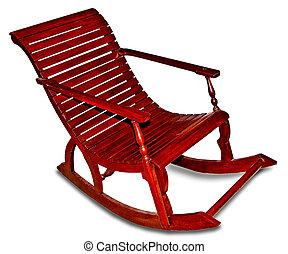 blanco, silla, mecedor, aislado, plano de fondo