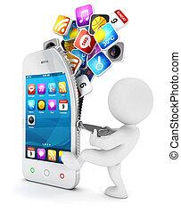 blanco, smartphone, 3d, abre, gente