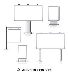 blanco, tablas, publicidad
