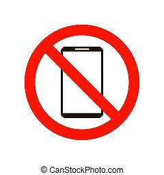 blanco, teléfono, no, aislado, fondo., señal, ilustración, vector