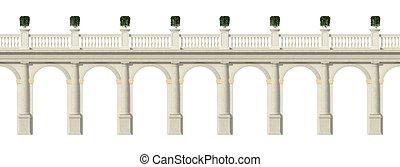 blanco, toscana, aislado, columnata