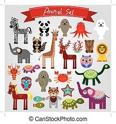 blanco, vector, animales, caricatura, divertido, fondo., conjunto