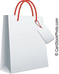 blanco, vector, bolso de compras