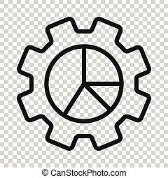 blanco, vector, empresa / negocio, workflow, ilustración, plano, icono, concept., aislado, fondo., organización, gráfico, diagrama, proceso, engranaje, style.