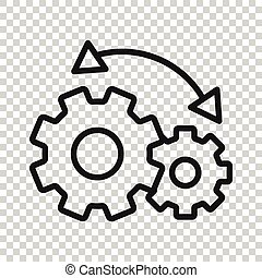 blanco, vector, empresa / negocio, workflow, ilustración, plano, icono, concept., aislado, fondo., organización, proceso, eficaz, engranaje, style.
